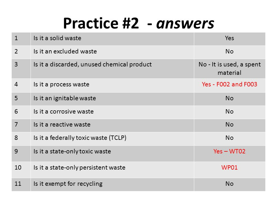 Practice #2 - answers 1Is it a solid wasteYes 2Is it an excluded wasteNo 3Is it a discarded, unused chemical productNo - It is used, a spent material