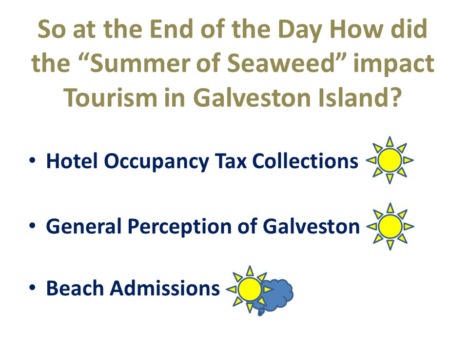 "So at the End of the Day How did the ""Summer of Seaweed"" impact Tourism in Galveston Island? Hotel Occupancy Tax Collections General Perception of Gal"