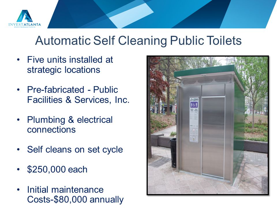 Automatic Self Cleaning Public Toilets Five units installed at strategic locations Pre-fabricated - Public Facilities & Services, Inc. Plumbing & elec