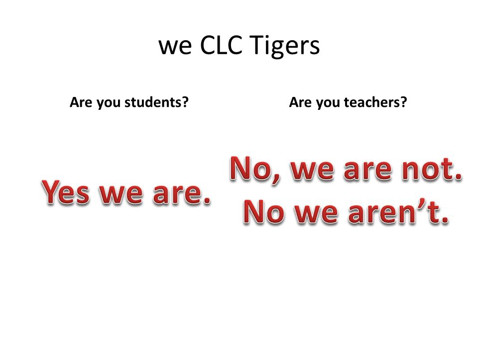 we CLC Tigers Are you students Are you teachers