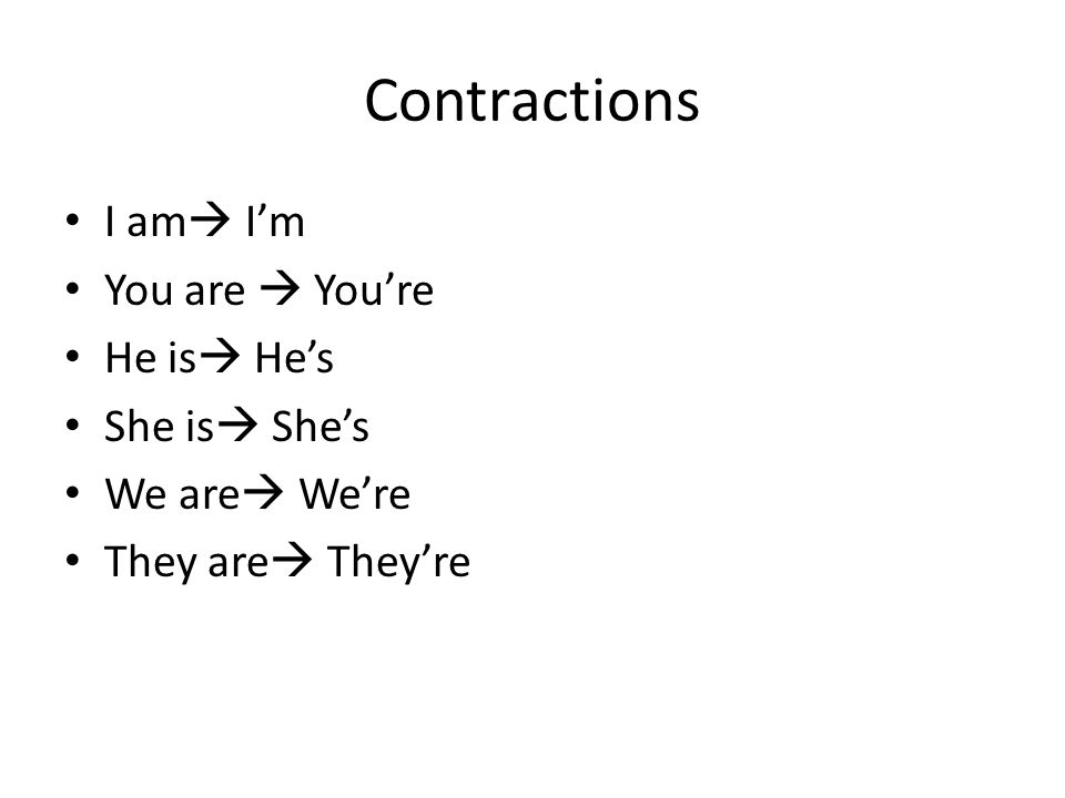Contractions I am  I'm You are  You're He is  He's She is  She's We are  We're They are  They're