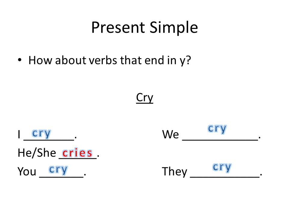 Present Simple How about verbs that end in y? Cry I ________.We ____________. He/She ______. You _______.They ___________.