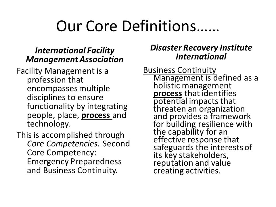 For the Purposes of this Presentation Let's Coin a New Definition Integrating Facility Management and BCM disciplines into a mutual and beneficial exchange process will enable the organization to more accurately identify and correct threats to the organization prior to disruptions and better enable continuity of operations without interruptions to enable zero tolerance downtime.