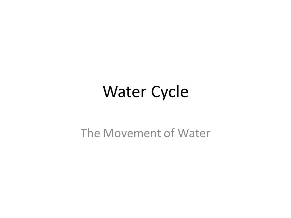 Water Cycle The Movement of Water