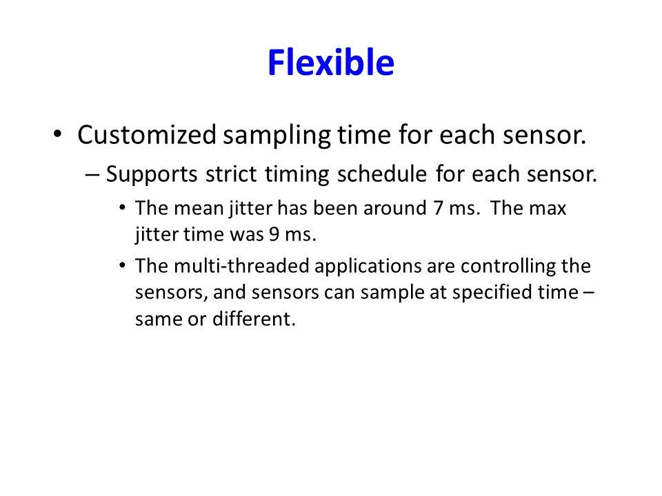 Flexible Customized sampling time for each sensor.
