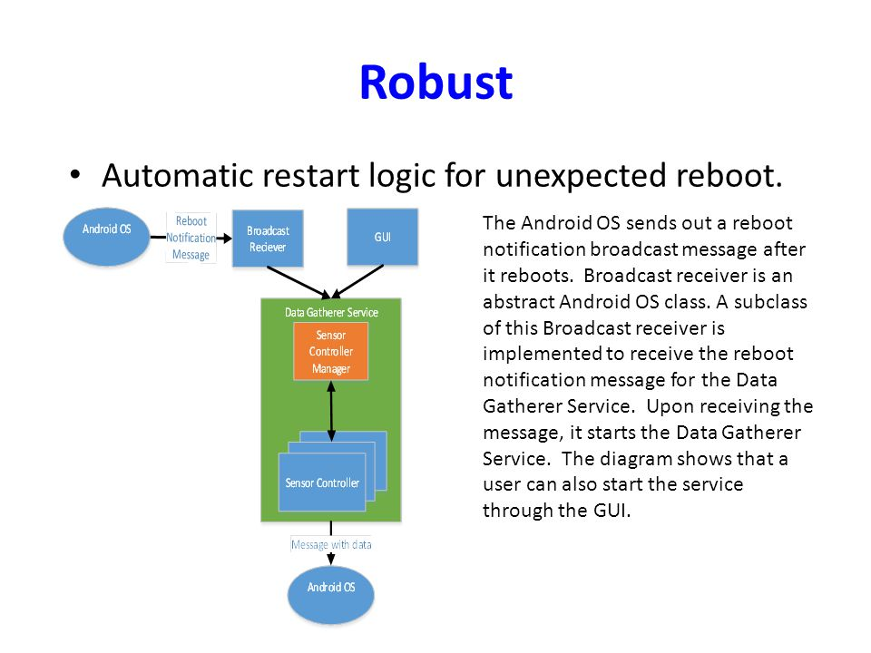 Robust Automatic restart logic for unexpected reboot. The Android OS sends out a reboot notification broadcast message after it reboots. Broadcast rec