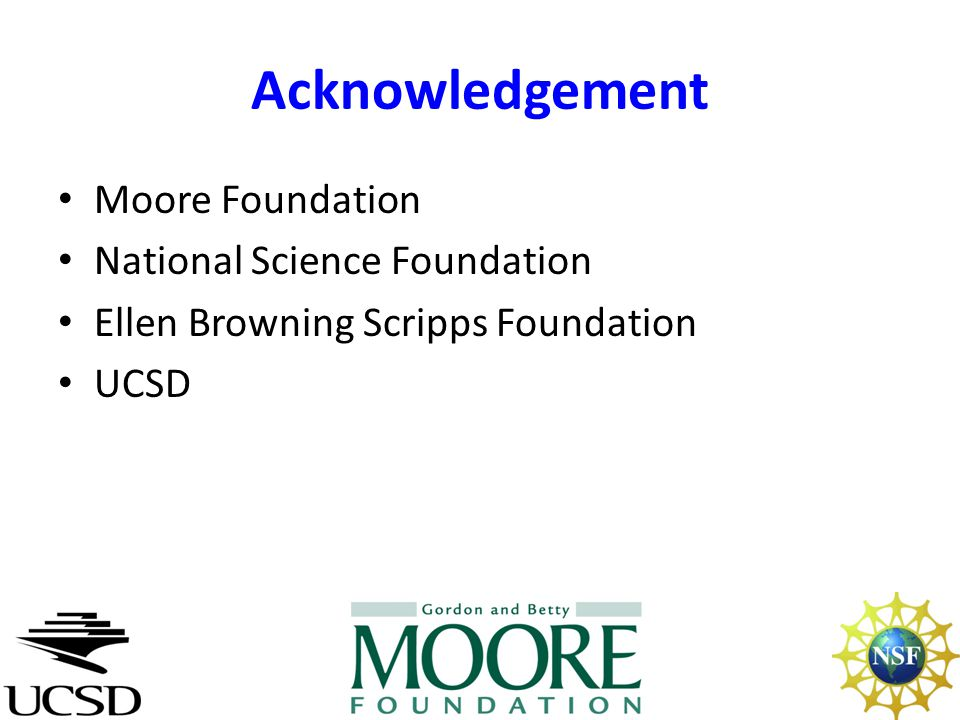 Acknowledgement Moore Foundation National Science Foundation Ellen Browning Scripps Foundation UCSD