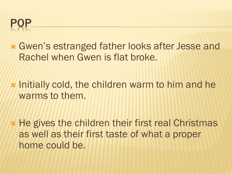  Gwen's estranged father looks after Jesse and Rachel when Gwen is flat broke.  Initially cold, the children warm to him and he warms to them.  He