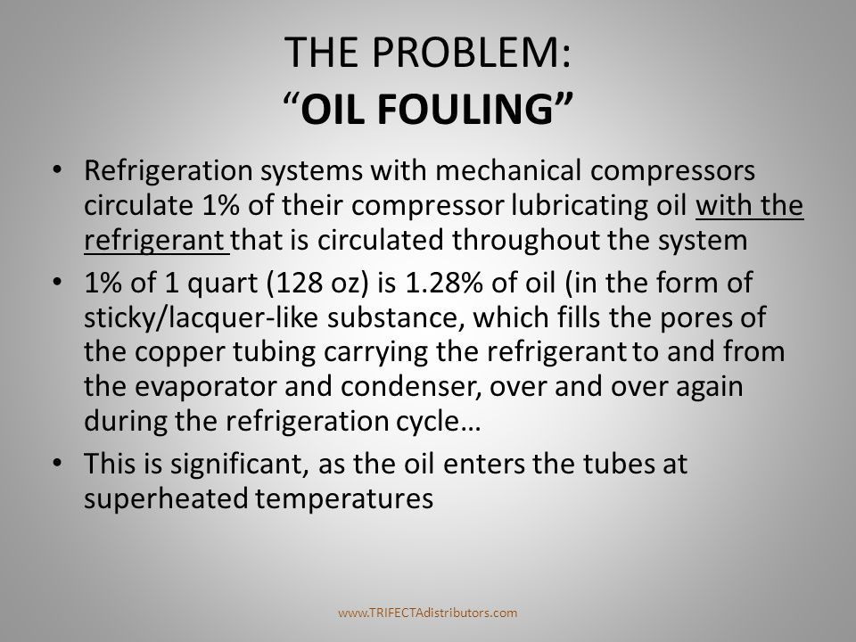 "THE PROBLEM: ""OIL FOULING"" Refrigeration systems with mechanical compressors circulate 1% of their compressor lubricating oil with the refrigerant tha"