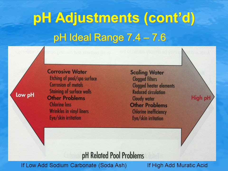 pH Adjustments (cont'd) pH Ideal Range 7.4 – 7.6 If Low Add Sodium Carbonate (Soda Ash) If High Add Muratic Acid
