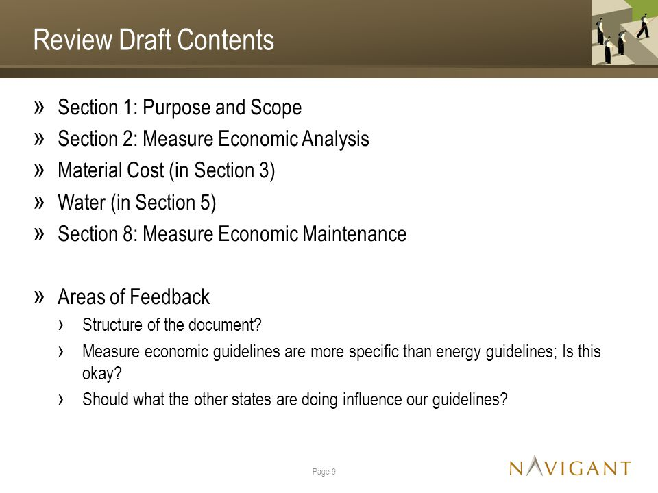 Review Draft Contents » Section 1: Purpose and Scope » Section 2: Measure Economic Analysis » Material Cost (in Section 3) » Water (in Section 5) » Section 8: Measure Economic Maintenance » Areas of Feedback › Structure of the document.