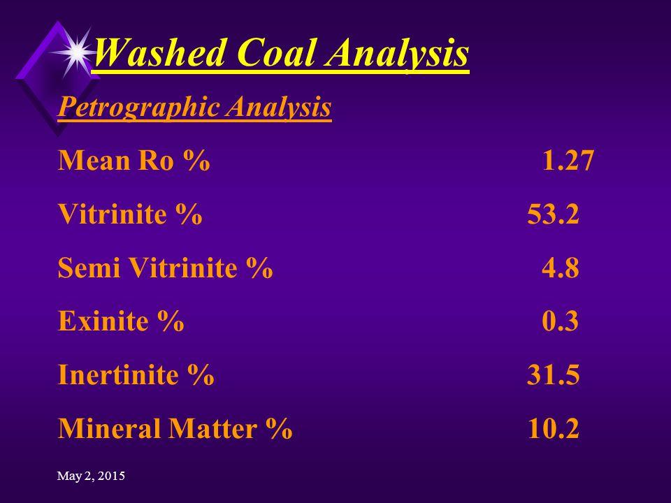 May 2, 2015 Washed Coal Analysis Petrographic Analysis Mean Ro % 1.27 Vitrinite %53.2 Semi Vitrinite % 4.8 Exinite % 0.3 Inertinite %31.5 Mineral Matter %10.2
