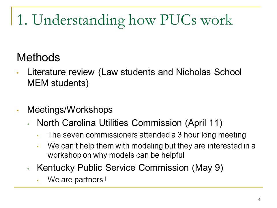 1. Understanding how PUCs work Methods Literature review (Law students and Nicholas School MEM students) Meetings/Workshops North Carolina Utilities C