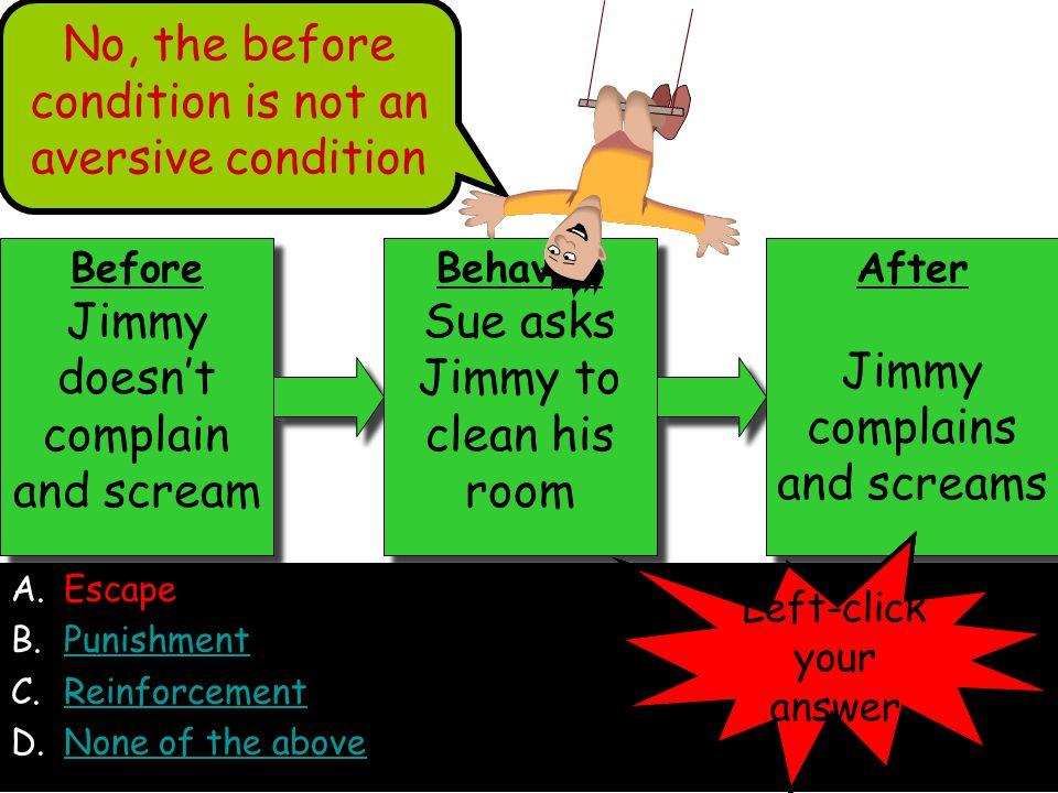 A.Escape B.PunishmentPunishment C.ReinforcementReinforcement D.None of the aboveNone of the above Before Jimmy doesn't complain and scream Before Jimmy doesn't complain and scream Behavior Sue asks Jimmy to clean his room Behavior Sue asks Jimmy to clean his room After Jimmy complains and screams After Jimmy complains and screams No, the before condition is not an aversive condition Left-click your answer