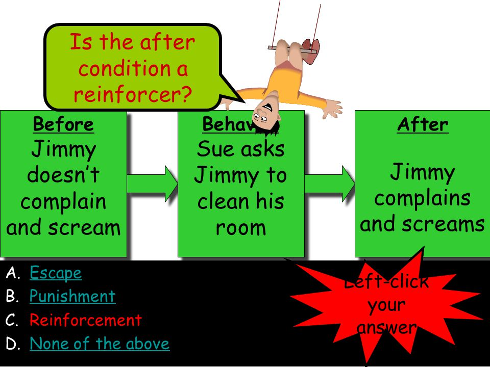 A.EscapeEscape B.PunishmentPunishment C.Reinforcement D.None of the aboveNone of the above Before Jimmy doesn't complain and scream Before Jimmy doesn't complain and scream Behavior Sue asks Jimmy to clean his room Behavior Sue asks Jimmy to clean his room After Jimmy complains and screams After Jimmy complains and screams Is the after condition a reinforcer.