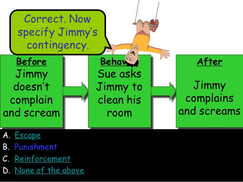 A.EscapeEscape B.Punishment C.ReinforcementReinforcement D.None of the aboveNone of the above Before Jimmy doesn't complain and scream Before Jimmy doesn't complain and scream Behavior Sue asks Jimmy to clean his room Behavior Sue asks Jimmy to clean his room After Jimmy complains and screams After Jimmy complains and screams Correct.