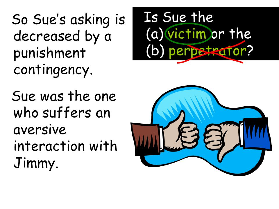 So Sue's asking is decreased by a punishment contingency.