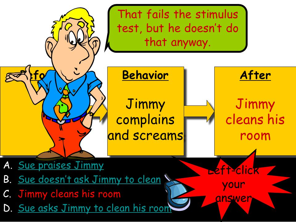 A.Sue praises JimmySue praises Jimmy B.Sue doesn't ask Jimmy to cleanSue doesn't ask Jimmy to clean C.Jimmy cleans his room D.Sue asks Jimmy to clean his roomSue asks Jimmy to clean his room Before Behavior Jimmy complains and screams Behavior Jimmy complains and screams After Jimmy cleans his room After Jimmy cleans his room Left-click your answer That fails the stimulus test, but he doesn't do that anyway.