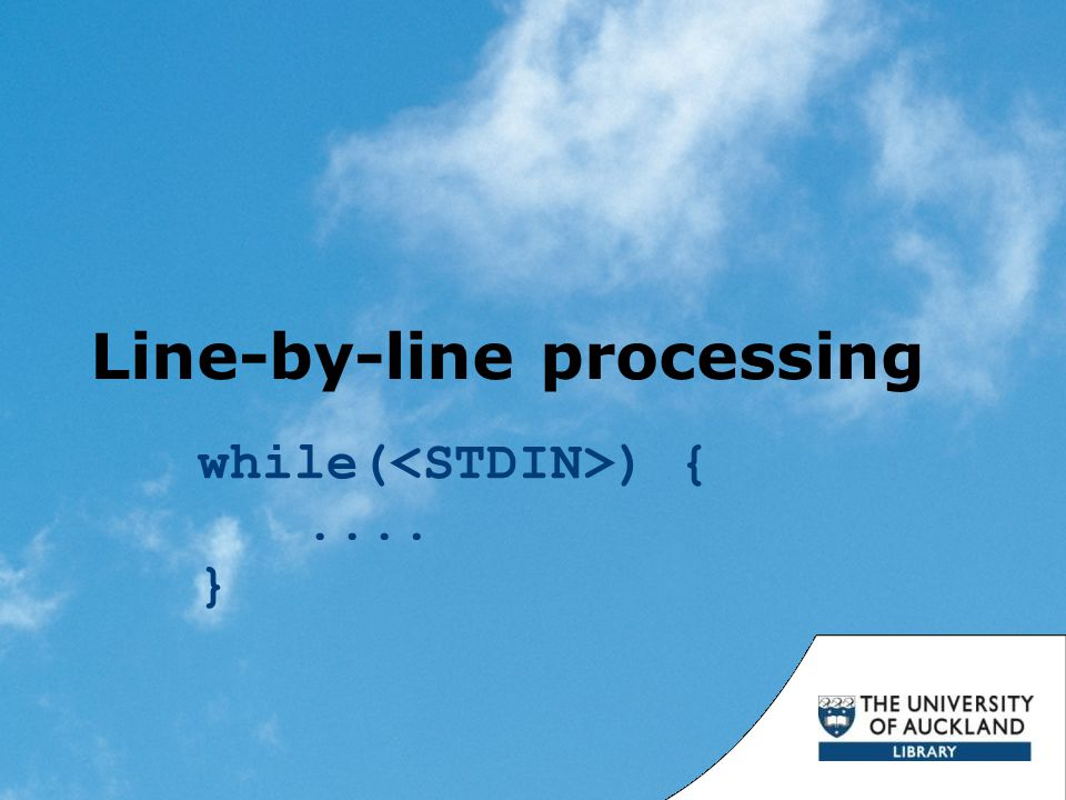 Line-by-line processing while( ) {.... }