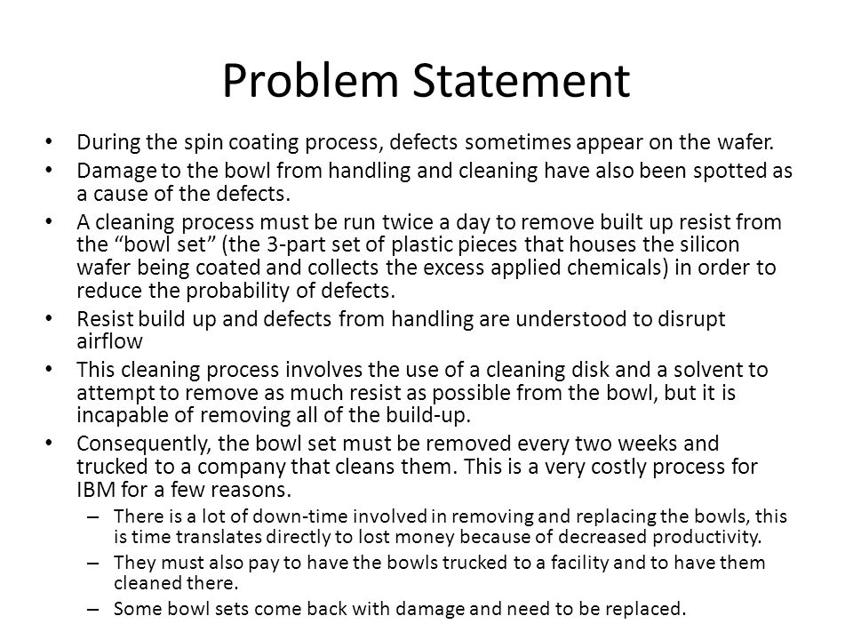 Problem Statement During the spin coating process, defects sometimes appear on the wafer.