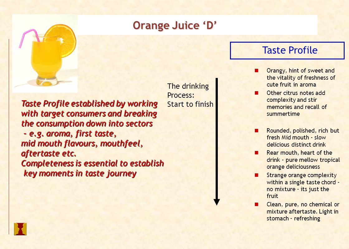 Taste Profile Orangy, hint of sweet and the vitality of freshness of cute fruit in aroma Other citrus notes add complexity and stir memories and recall of summertime Rounded, polished, rich but fresh Mid mouth - slow delicious distinct drink Rear mouth, heart of the drink - pure mellow tropical orange deliciousness Strange orange complexity within a single taste chord - no mixture - its just the fruit Clean, pure, no chemical or mixture aftertaste.