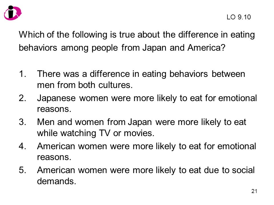 21 Which of the following is true about the difference in eating behaviors among people from Japan and America? 1.There was a difference in eating beh