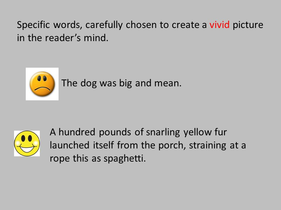 Specific words, carefully chosen to create a vivid picture in the reader's mind. The dog was big and mean. A hundred pounds of snarling yellow fur lau