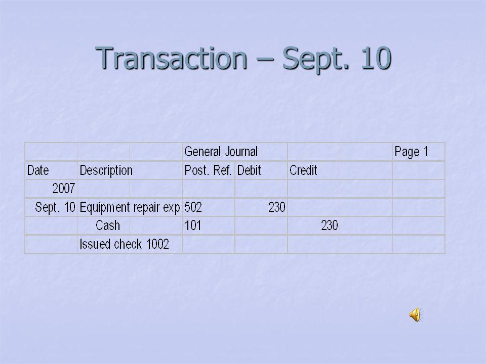 Transaction – Sept 9