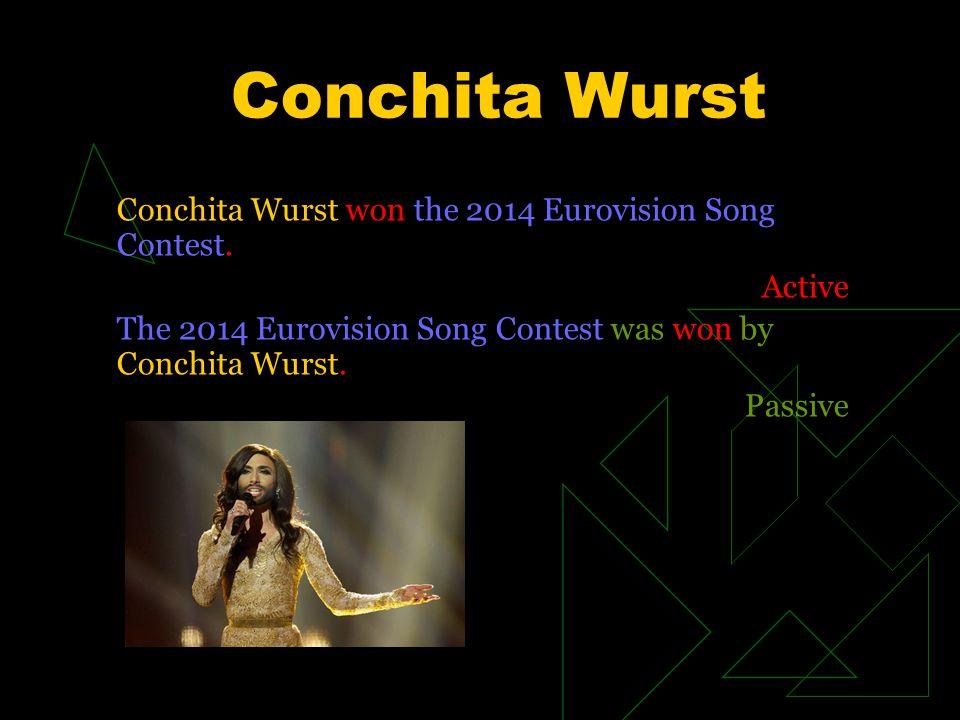 Conchita Wurst Conchita Wurst won the 2014 Eurovision Song Contest.
