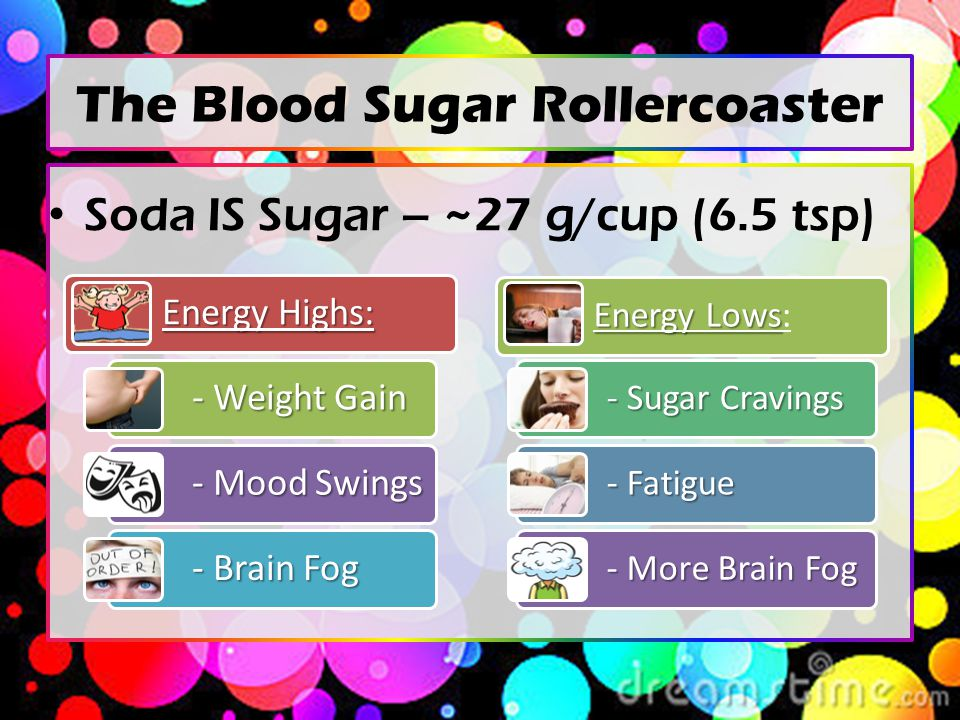 The Blood Sugar Rollercoaster Soda IS Sugar – ~27 g/cup (6.5 tsp) Energy Highs: - Weight Gain - Mood Swings - Brain Fog Energy Lows Energy Lows: - Sugar Cravings - Fatigue - More Brain Fog