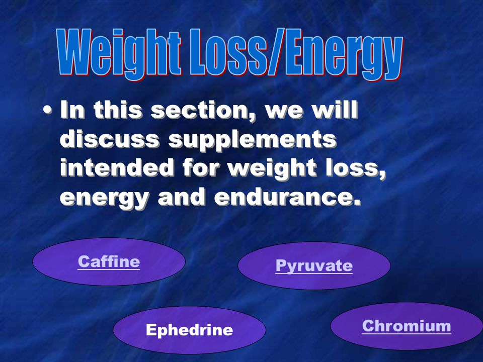 In this section, we will discuss supplements intended for weight loss, energy and endurance.