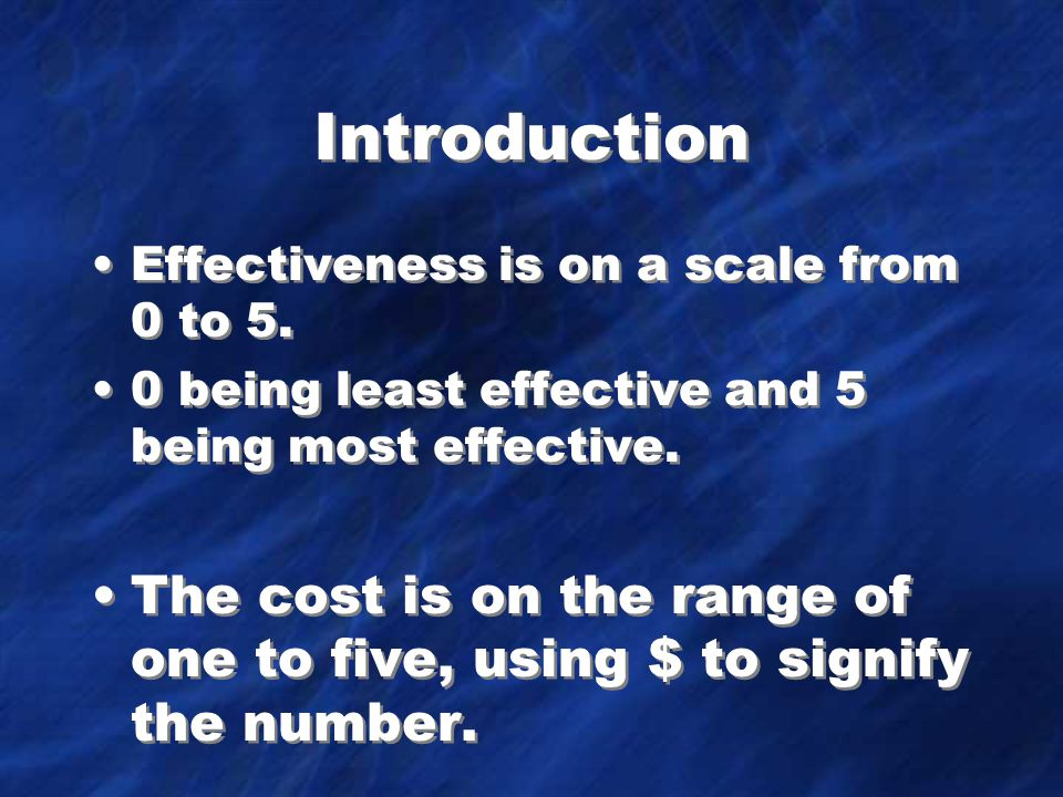 Introduction Effectiveness is on a scale from 0 to 5.