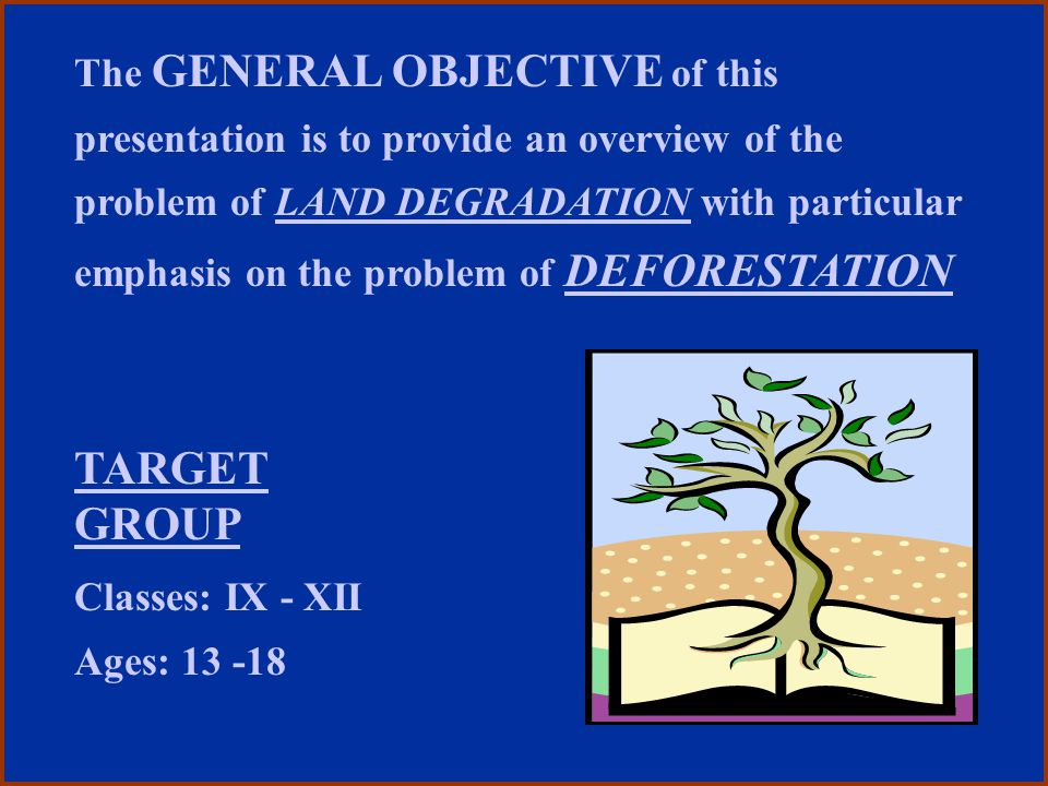 TARGET GROUP Classes: IX - XII Ages: 13 -18 The GENERAL OBJECTIVE of this presentation is to provide an overview of the problem of LAND DEGRADATION wi
