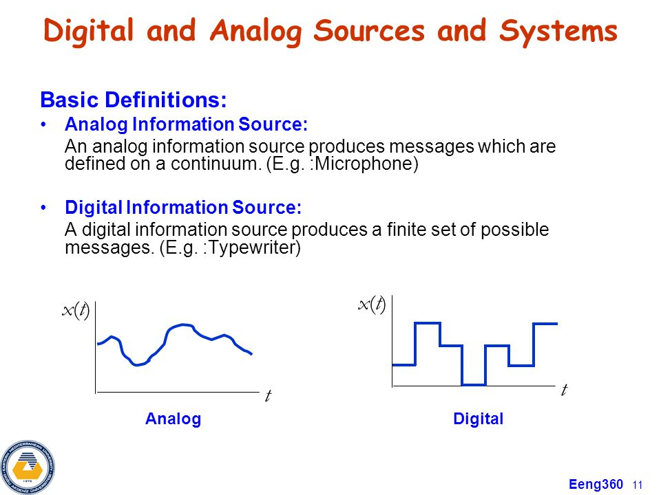 Eeng360 11 Digital and Analog Sources and Systems Basic Definitions: Analog Information Source: An analog information source produces messages which a