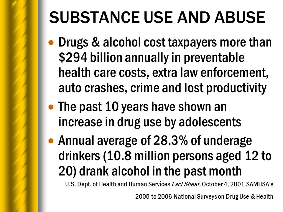 SUBSTANCE USE AND ABUSE  Drugs & alcohol cost taxpayers more than $294 billion annually in preventable health care costs, extra law enforcement, auto crashes, crime and lost productivity  The past 10 years have shown an increase in drug use by adolescents  Annual average of 28.3% of underage drinkers (10.8 million persons aged 12 to 20) drank alcohol in the past month U.S.