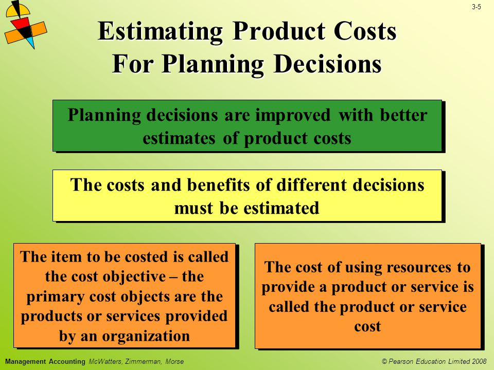 3-5 © Pearson Education Limited 2008 Management Accounting McWatters, Zimmerman, Morse Estimating Product Costs For Planning Decisions Planning decisions are improved with better estimates of product costs The costs and benefits of different decisions must be estimated The item to be costed is called the cost objective – the primary cost objects are the products or services provided by an organization The cost of using resources to provide a product or service is called the product or service cost