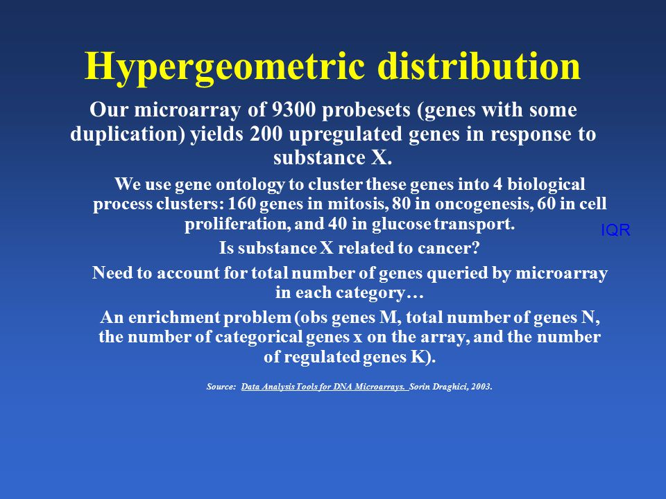 IQR Hypergeometric distribution Our microarray of 9300 probesets (genes with some duplication) yields 200 upregulated genes in response to substance X