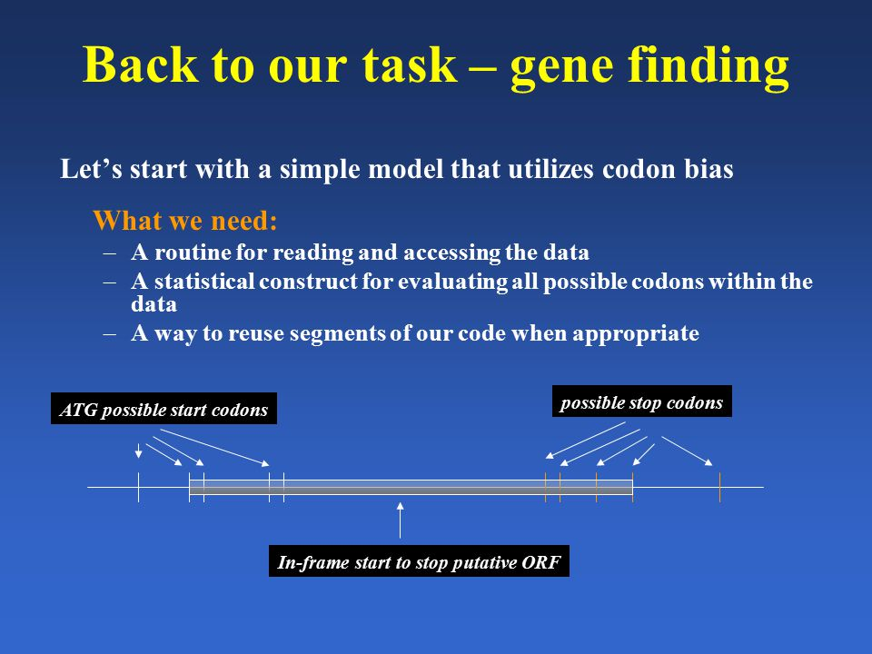 Back to our task – gene finding Let's start with a simple model that utilizes codon bias What we need: –A routine for reading and accessing the data –
