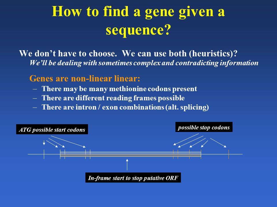 How to find a gene given a sequence? We don't have to choose. We can use both (heuristics)? We'll be dealing with sometimes complex and contradicting