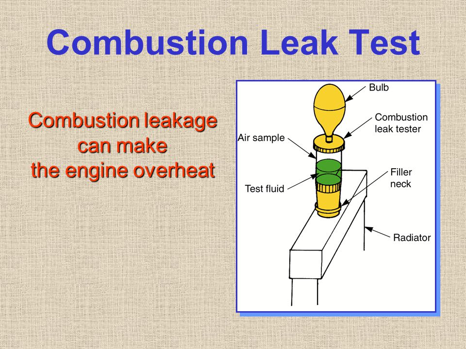 Combustion Leak Test Combustion leakage can make the engine overheat