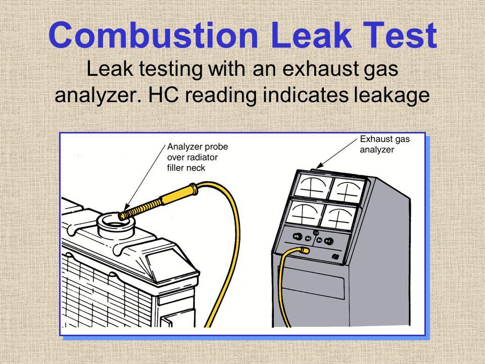 Combustion Leak Test Leak testing with an exhaust gas analyzer. HC reading indicates leakage