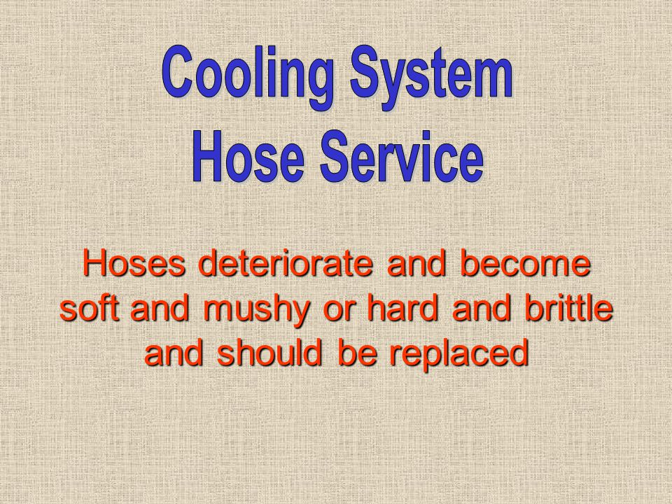Hoses deteriorate and become soft and mushy or hard and brittle and should be replaced