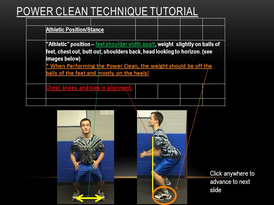 POWER CLEAN TECHNIQUE TUTORIAL Athletic Position/Stance Athletic position – feet shoulder width apart, weight slightly on balls of feet, chest out, butt out, shoulders back, head looking to horizon.