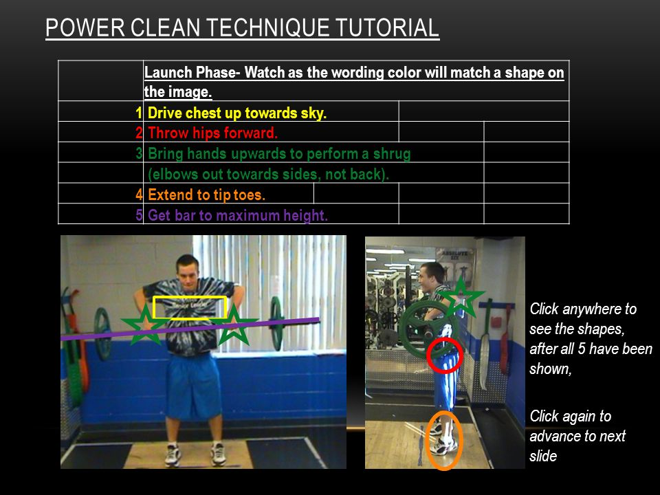 POWER CLEAN TECHNIQUE TUTORIAL Launch Phase- Watch as the wording color will match a shape on the image.