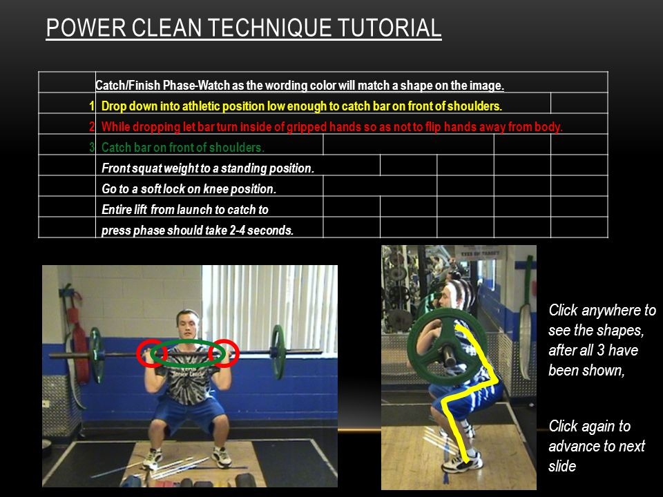 POWER CLEAN TECHNIQUE TUTORIAL Catch/Finish Phase-Watch as the wording color will match a shape on the image.