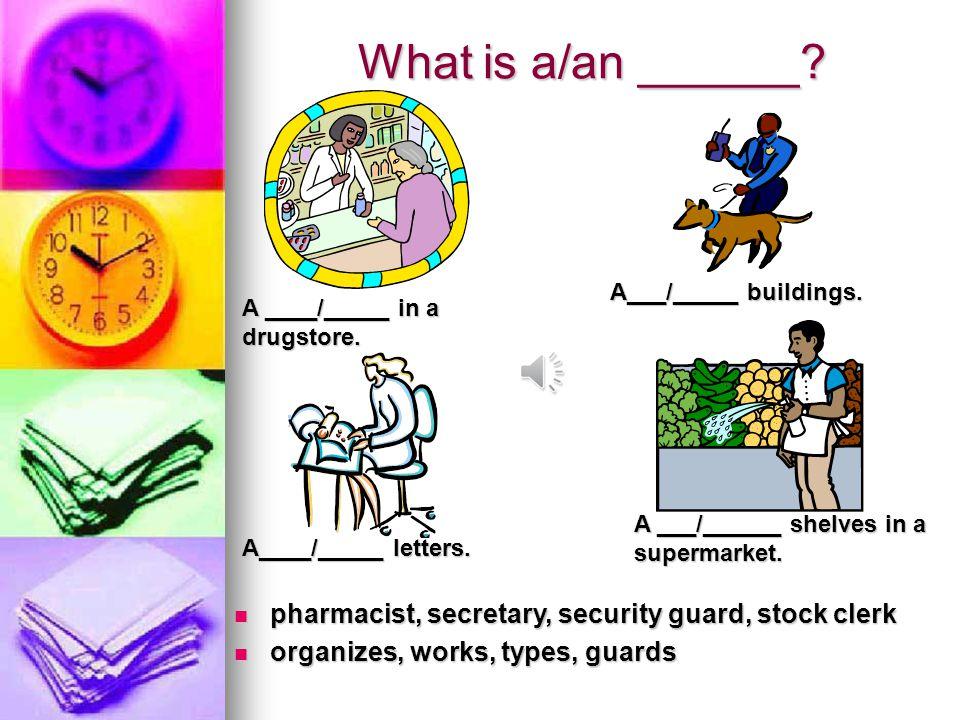 What is a/an ______? mechanic, musician, painter, plumber mechanic, musician, painter, plumber fixes, paints, fixes, plays fixes, paints, fixes, plays