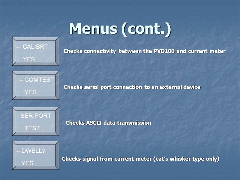 Menus (cont.) Checks ASCII data transmission Checks serial port connection to an external device Checks connectivity between the PVD100 and current meter Checks connectivity between the PVD100 and current meter Checks signal from current meter (cat's whisker type only)  CALIBRT YES  COMTEST YES  SER PORT TEST  DWELL.