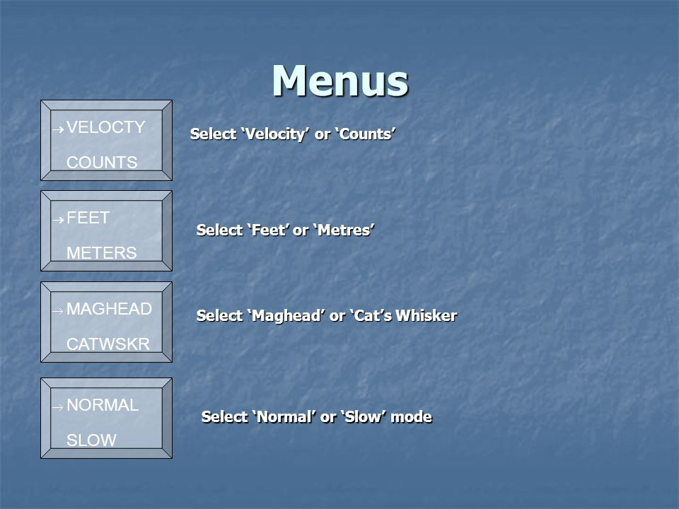 Menus Select 'Normal' or 'Slow' mode Select 'Feet' or 'Metres' Select 'Maghead' or 'Cat's Whisker Select 'Velocity' or 'Counts' Select 'Velocity' or 'Counts'  VELOCTY COUNTS  FEET METERS  MAGHEAD CATWSKR  NORMAL SLOW