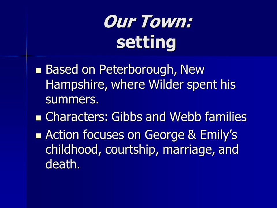 Our Town: setting Based on Peterborough, New Hampshire, where Wilder spent his summers.
