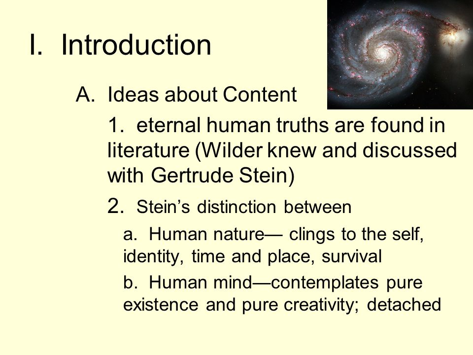 I. Introduction A.Ideas about Content 1.